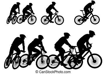 cycliste, -, vélo, silhouette, vecteur
