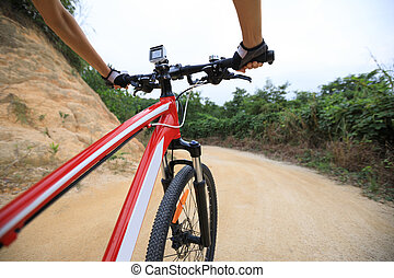 cycliste, vélo tout terrain, cyclisme, piste