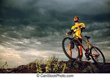 cycliste, vélo tout terrain, extérieur, équitation