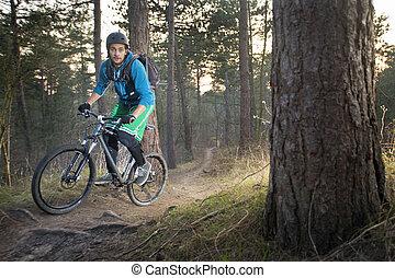 cycliste, vélo tout terrain, offroad, piste
