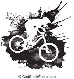 cycliste, vélo tout terrain, silhouette, équitation