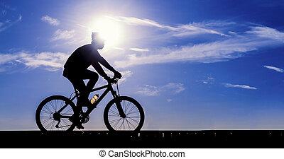 cycliste, vélo voyageant, silhouette, route