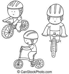 cycliste, vecteur, ensemble