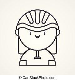 cycliste, vecteur, icône, signe, symbole