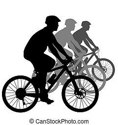 cycliste, vecteur, silhouette, illustration., male.