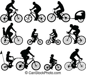 cyclistes, silhouettes
