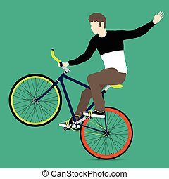 Cyclists and fixed gear bicycle Vector and Illustration