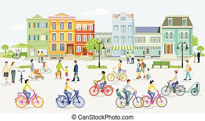 Cyclists and pedestrians in the suburb.eps