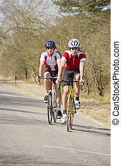 Cyclists close together