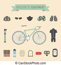 cyclist's gear - set of bicycle accessories, flat style