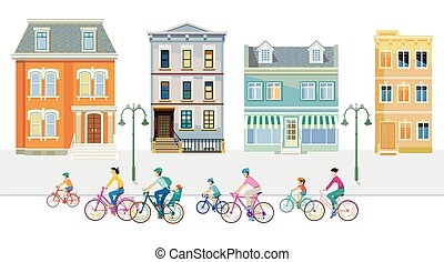 Cyclists in the suburb with apartment buildings.eps