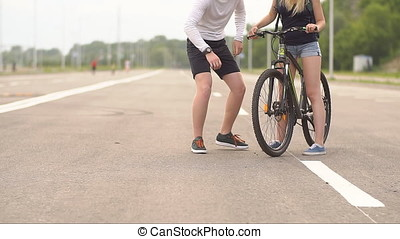 Cyclists in the urban environment, provide assistance to...
