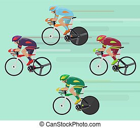 Cyclists man on road race bicycle racing concept.