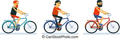 Cyclists on bicycles cartoon style