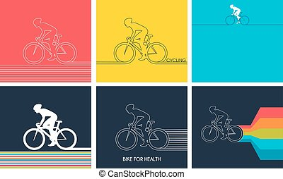 Cyclists on bikes. set isolated d vector illustration. - ...