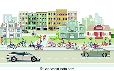 Cyclists on the bike path and road traffic with pedestrians and cars on urban street.eps