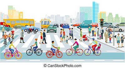 Cyclists on the bike path in the city with road traffic and pedestrians-.eps