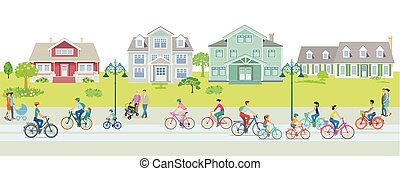 Cyclists on the bike path in the suburb with pedestrians--.eps