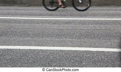 Cyclists on the Moscow cycle parade. Cycle parade took place...