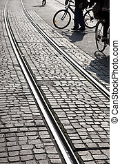 Cyclists on Tram Track in Geneva; Switzerland