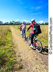 cyclists riding bicycles in meadow