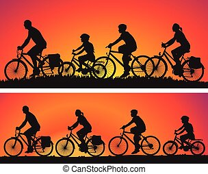 cyclists silhouettes on background