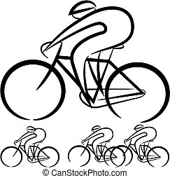 cyclists - vector silhouettes