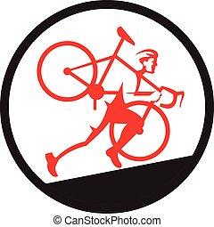 cyclocross, atleta, correndo, arduo, cerchio