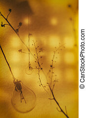 Cyclone - abstract still life with bulbs and branches of a plant