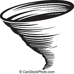 Cyclone - A stylized black and white whirlwind or tornado