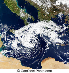 cyclonic, tempestade, em, mediterrâneo