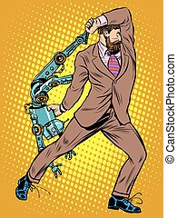 Cyclops businessman against a robot pop art retro style. Human vs artificial intelligence
