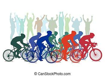 cyclus, hardloop, competitie, met, toeschouwers, illustratie