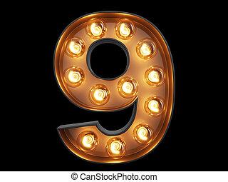 cyfra, alfabet, litera, dziewięć, lekki, 9, bulwa, chrzcielnica