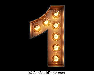 cyfra, alfabet, litera, jeden, 1, lekka bulwa, chrzcielnica