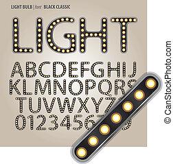 cyfra, klasyk, alfabet, wektor, czarne światło, bulwa