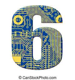 cyfra, objazd, elektronowy, alfabet, -, jeden, deska, tło, 6...