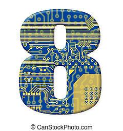 cyfra, objazd, elektronowy, alfabet, -, jeden, deska, tło, 8...