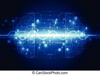 cyfrowy, abstrakcyjny, technologia, objazd, mózg, pojęcie, elektryczny