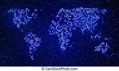 cyfrowy, błękitny, światowa mapa, pętla