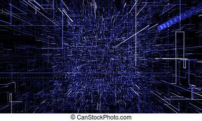 cyfrowy, błękitny, faktyczny, dane, przelotny, 3d, abstrakcyjny, ilustracja, przez, space., tunel