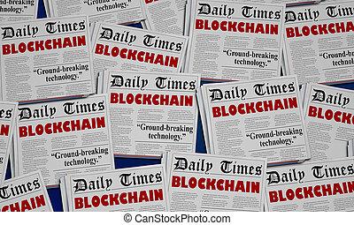 cyfrowy, blockchain, ilustracja, innowacja, gazeta, nagłówki, technologia, 3d