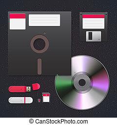 cyfrowy, dane, urządzenia, ikona, komplet