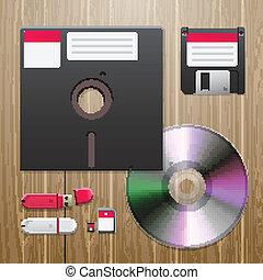 cyfrowy, dane, urządzenia, komplet, na, przedimek określony...