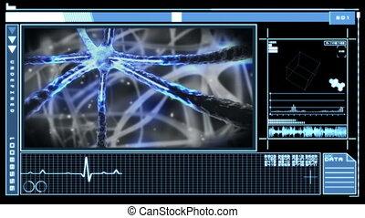 cyfrowy, interfejs, pokaz, neuron