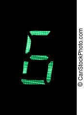 cyfrowy, liczba sześciu, w, zielony, na, czarne tło