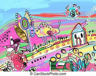 cyfrowy, malarstwo, od, rolny krajobraz, z, dom, krowa,...