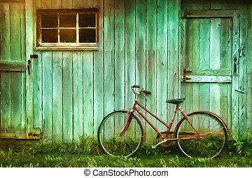 cyfrowy, malarstwo, od, stary rower, przeciw, stodoła