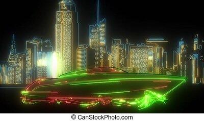 cyfrowy, neon, szybkość, video, łódka, motorówka