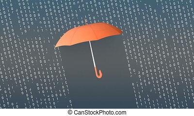 cyfrowy, ochrona, parasol, pojęcie, animation.